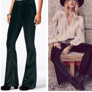 Free People Oxanna Green Velvet Flare Trousers